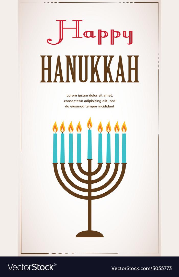 Happy hanukkah greeting card design jewish holiday vector | Price: 1 Credit (USD $1)