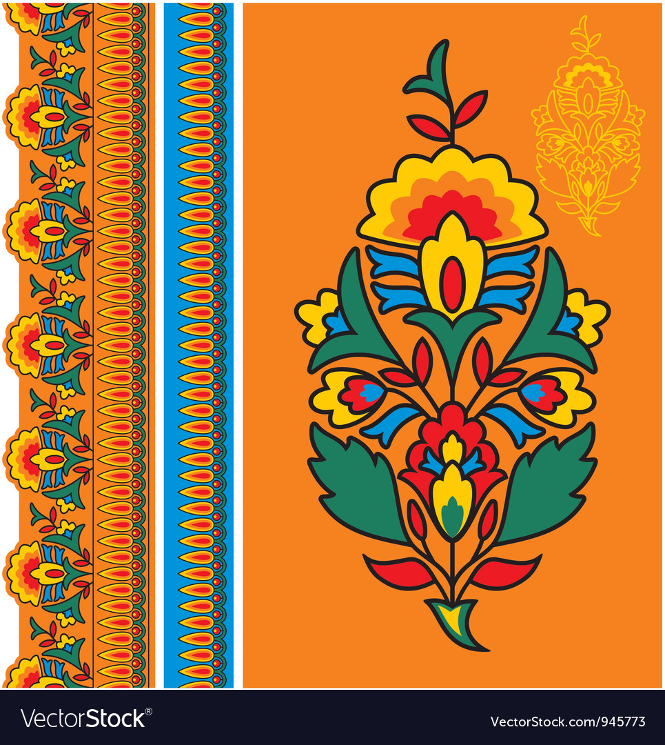Oriental - indian - floral design elements vector | Price: 1 Credit (USD $1)