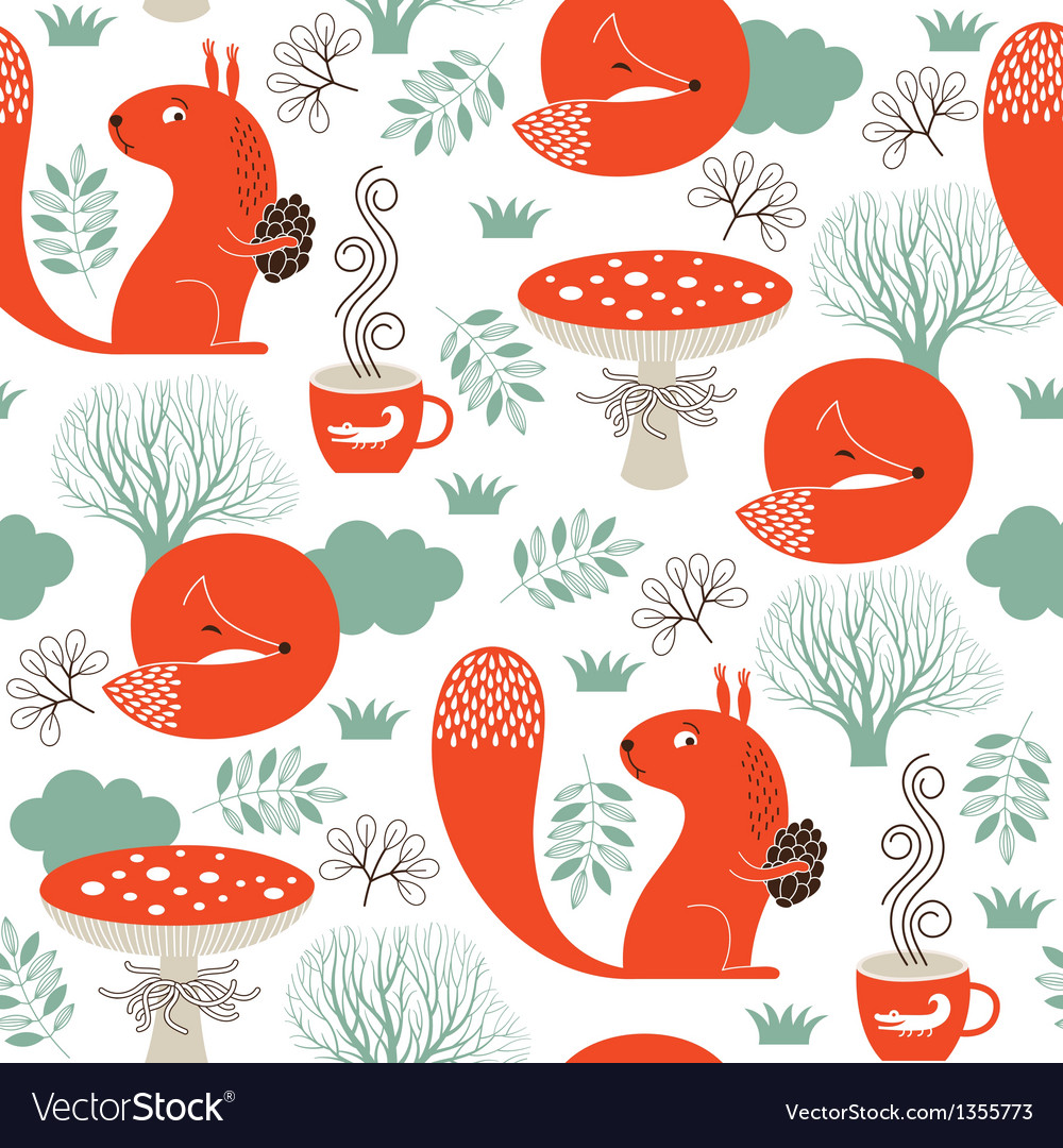 Seamless pattern with cute animals vector | Price: 1 Credit (USD $1)