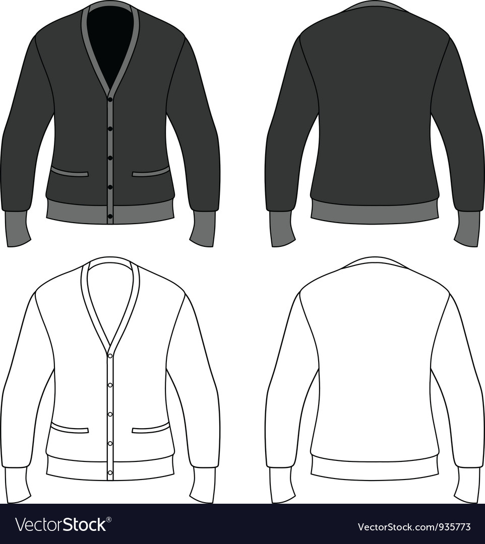 Template outline of a blank cardigan vector | Price: 1 Credit (USD $1)