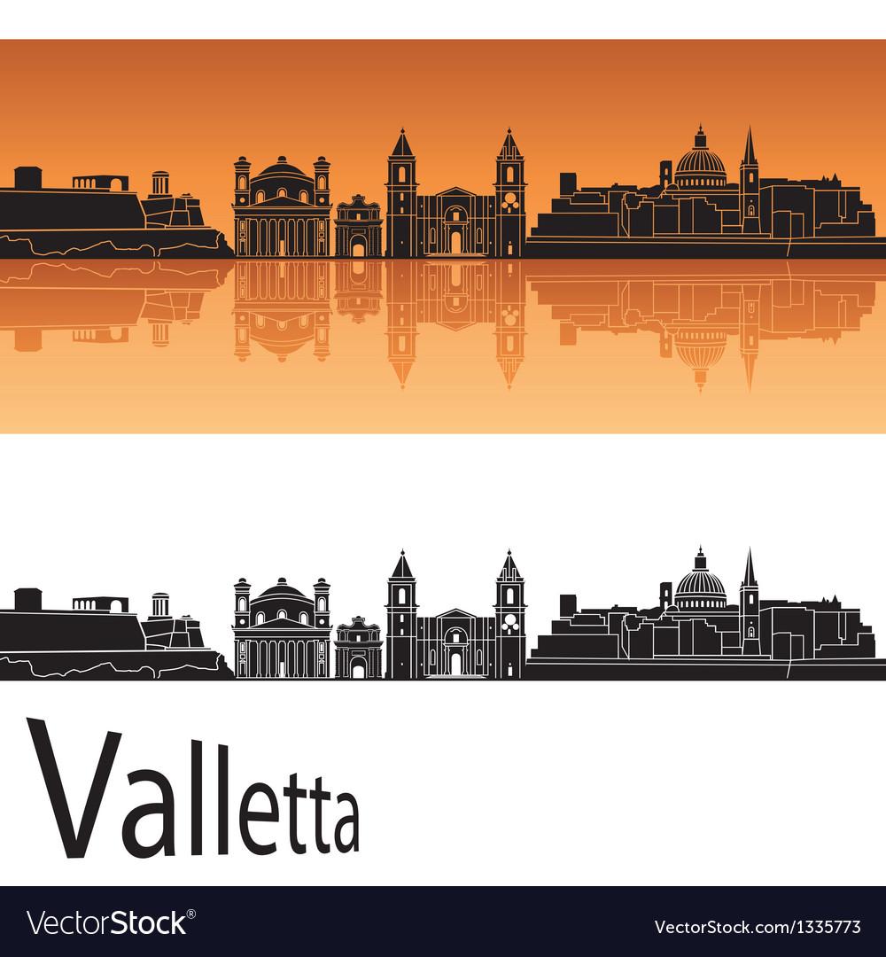 Valletta skyline in orange background vector | Price: 1 Credit (USD $1)