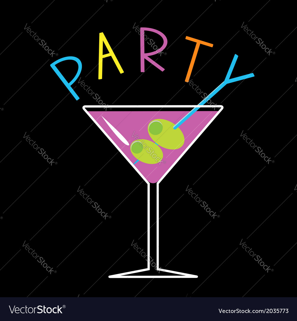 Violet cocktail in martini glass word party card vector | Price: 1 Credit (USD $1)