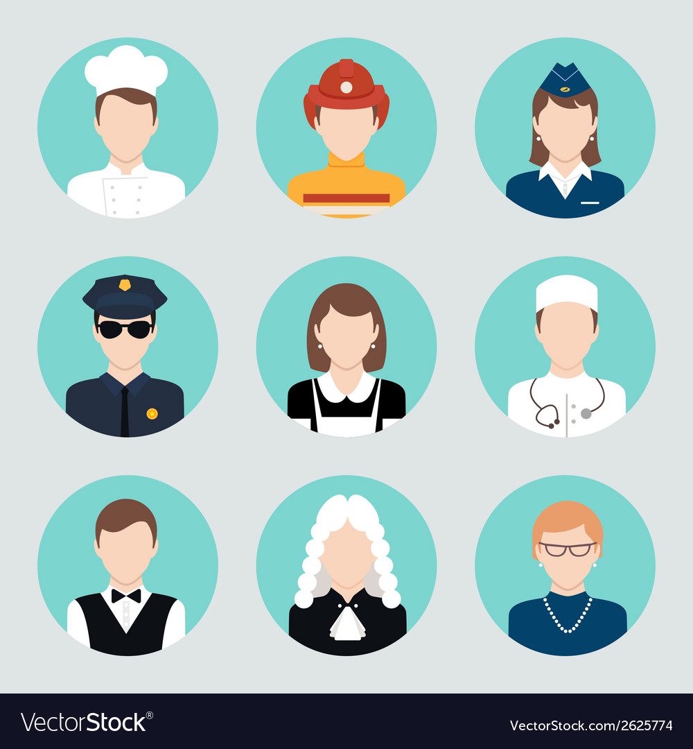 Avatar flat icons set vector | Price: 1 Credit (USD $1)