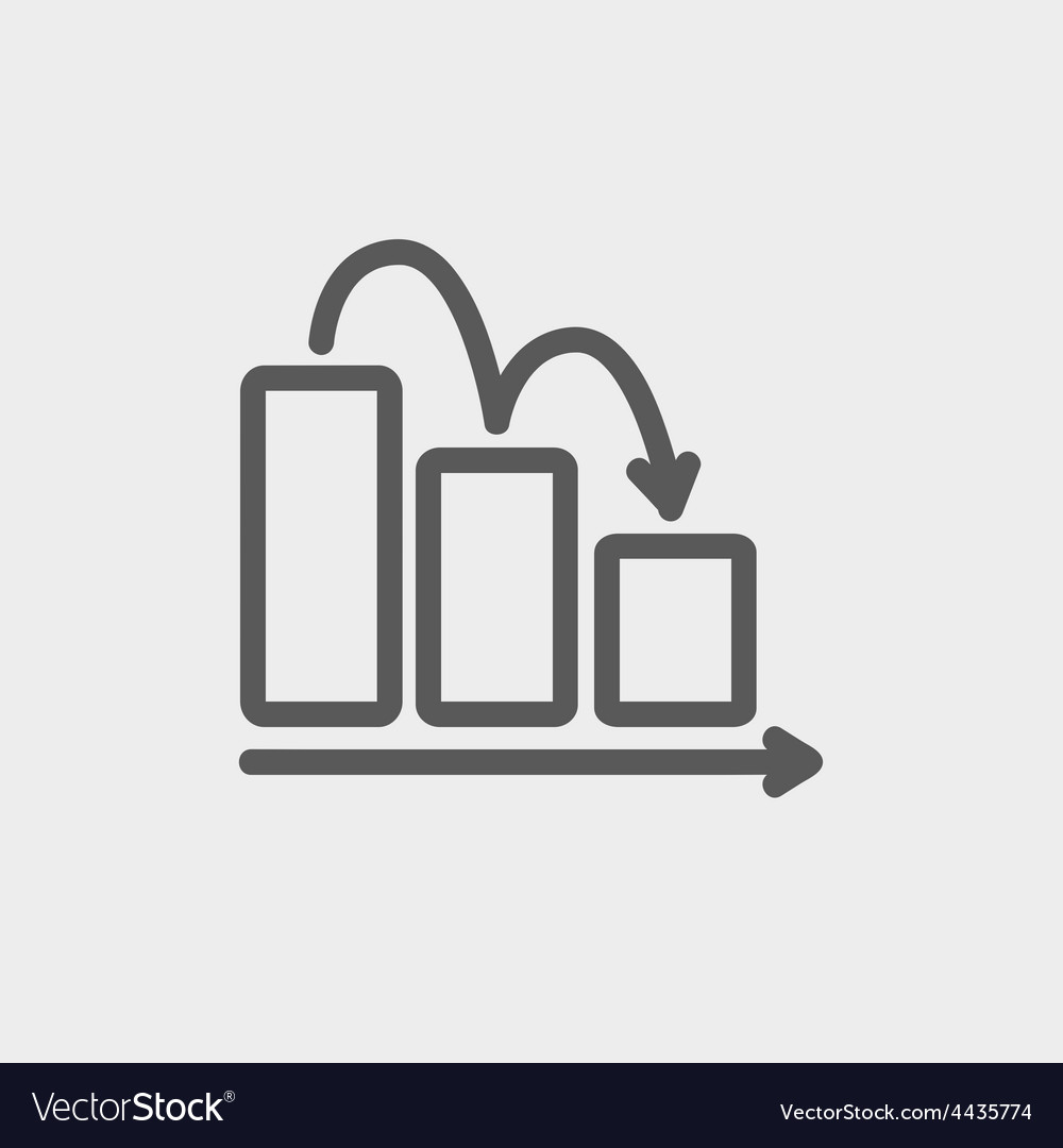 Business graph down thin line icon vector | Price: 1 Credit (USD $1)