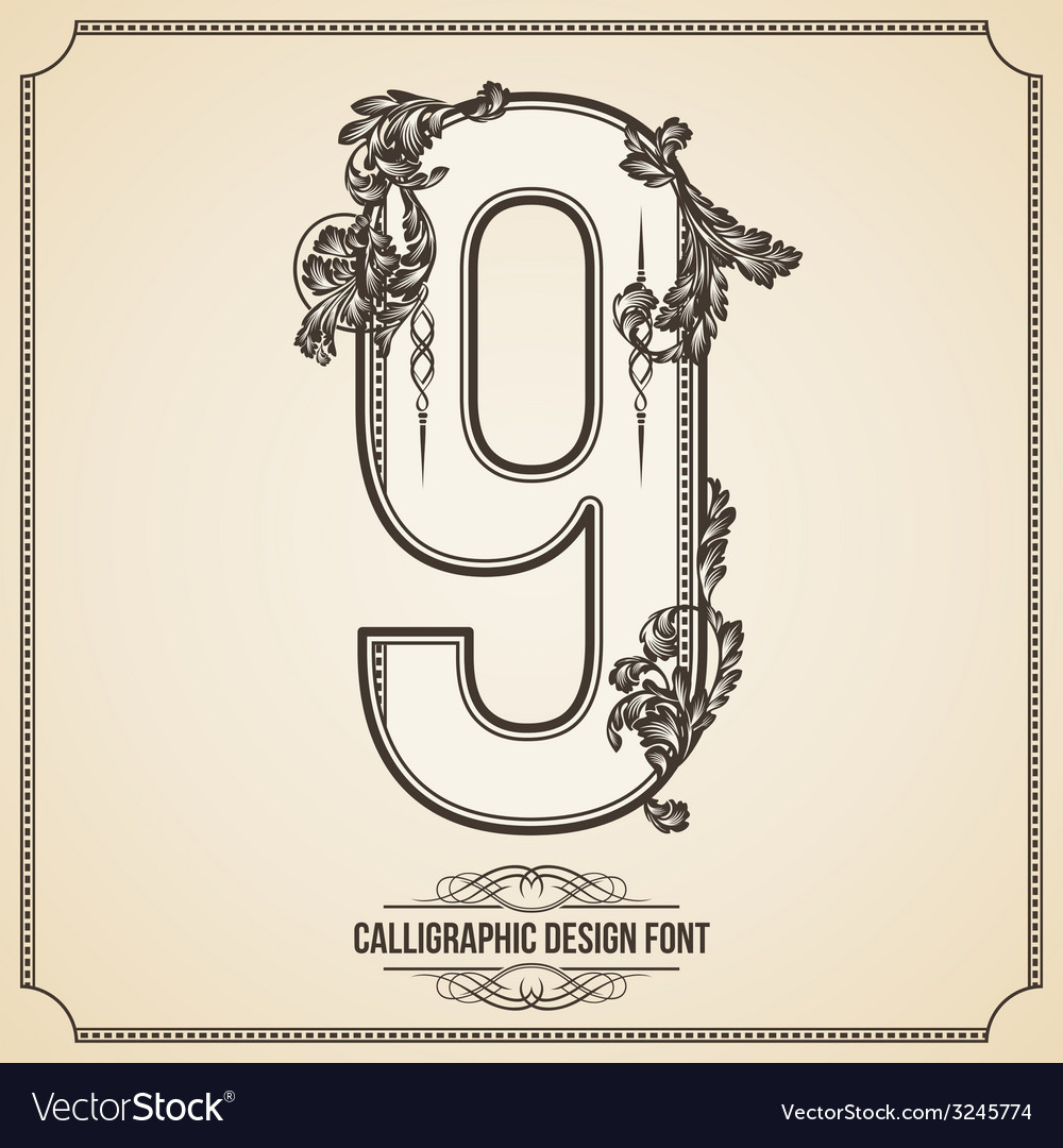 Calligraphic font number 9 vector   Price: 1 Credit (USD $1)