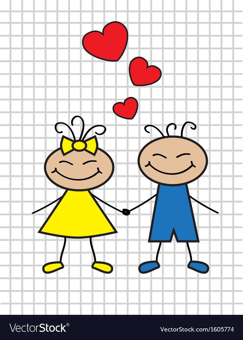 Cartoon children in love vector | Price: 1 Credit (USD $1)