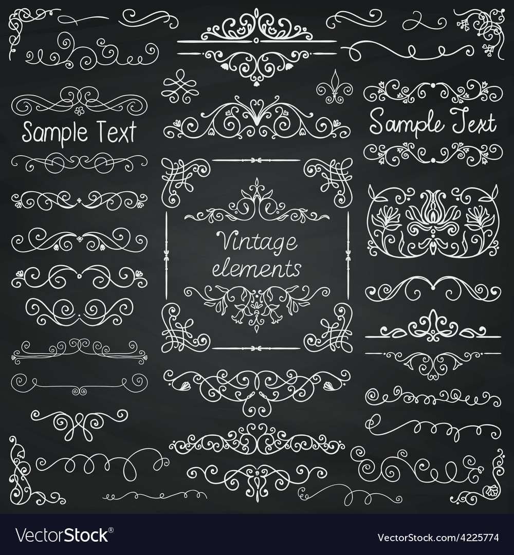 Chalk drawing doodle design elements vector | Price: 1 Credit (USD $1)