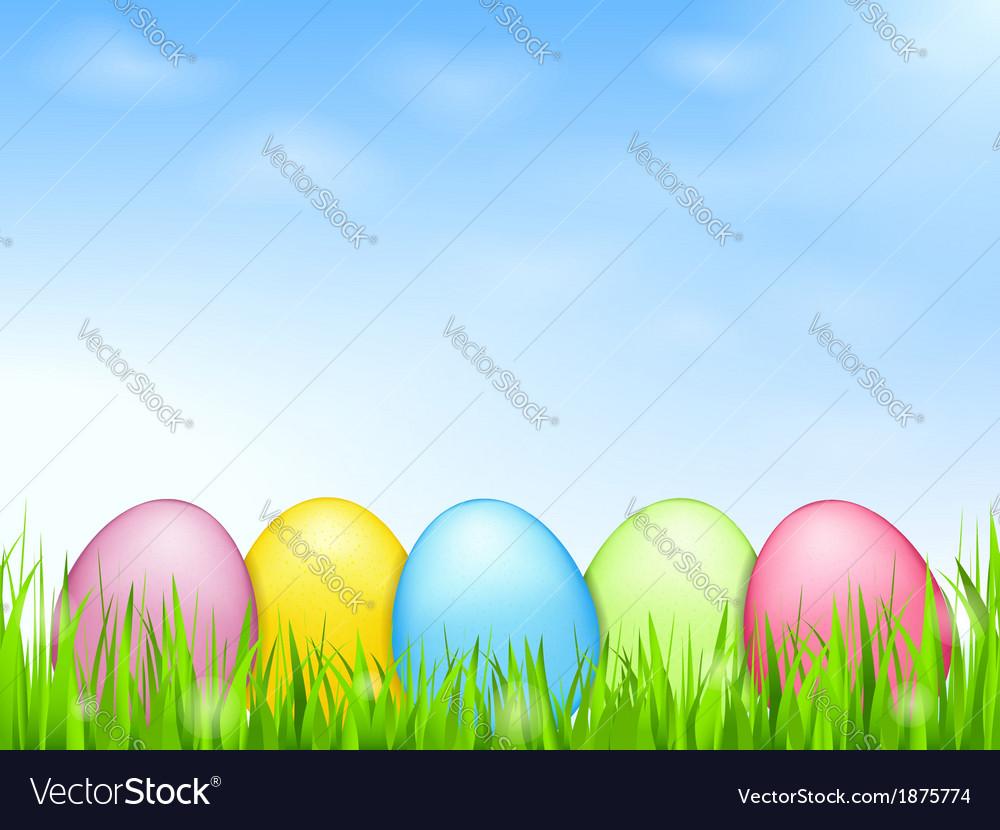 Colored eggs in grass vector   Price: 1 Credit (USD $1)