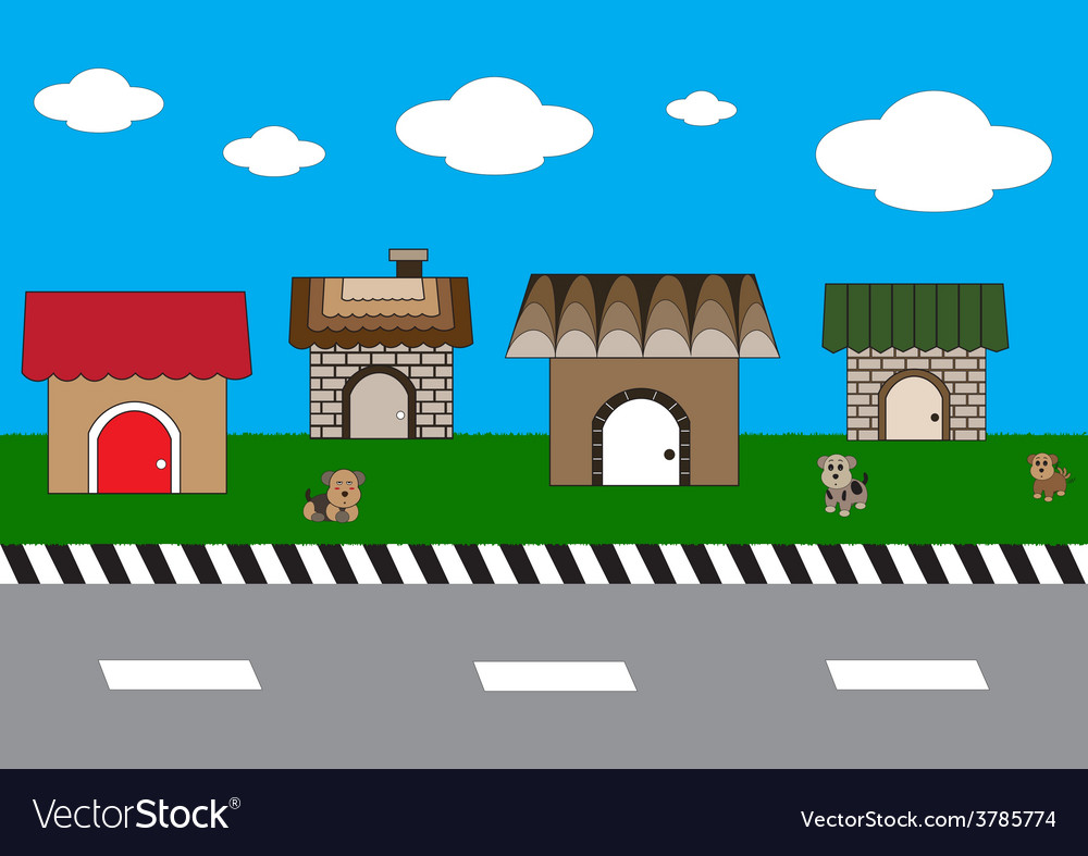 Cute homes on street1 01 vector