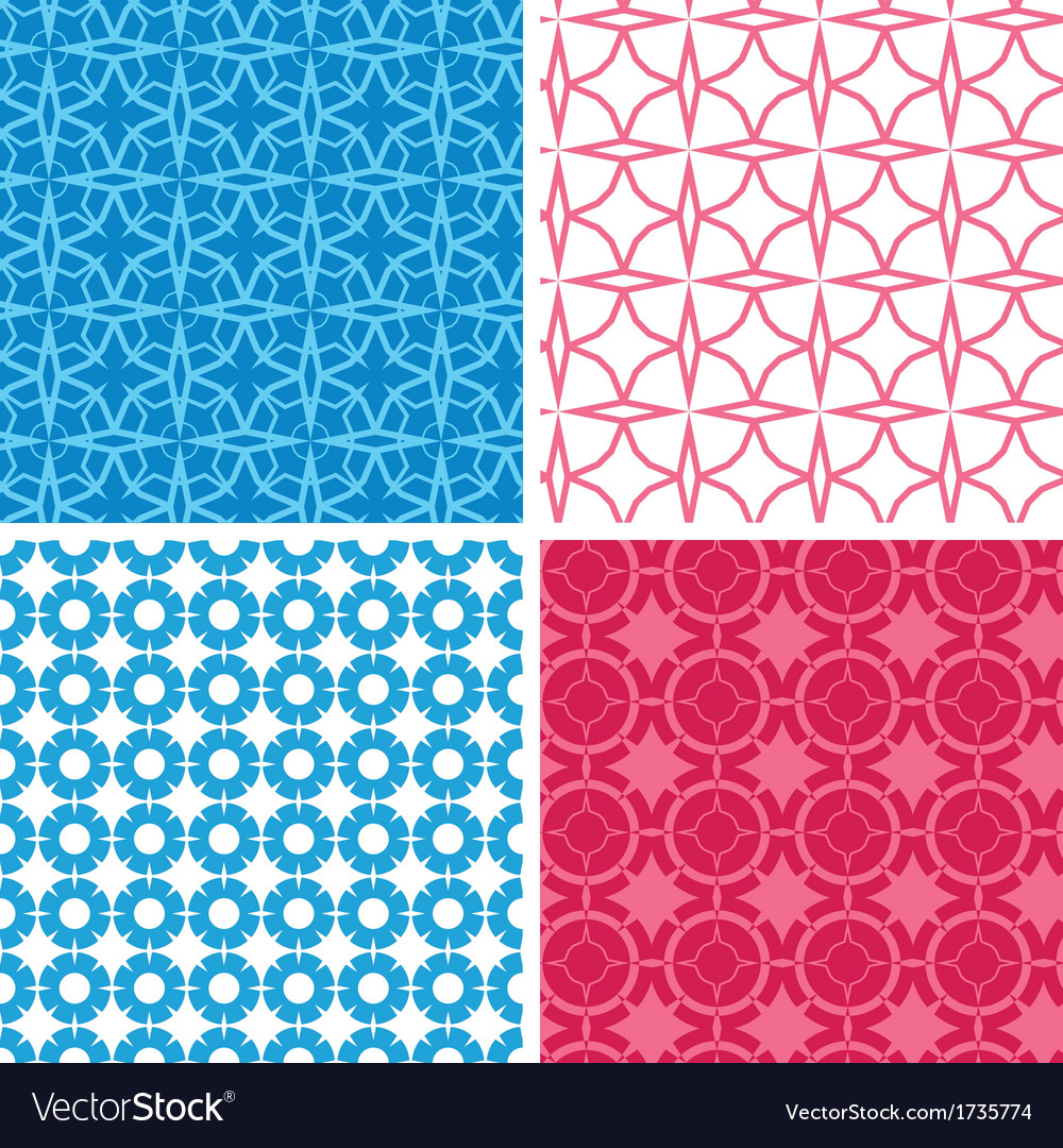 Four blue and red abstract geometric patterns and vector | Price: 1 Credit (USD $1)