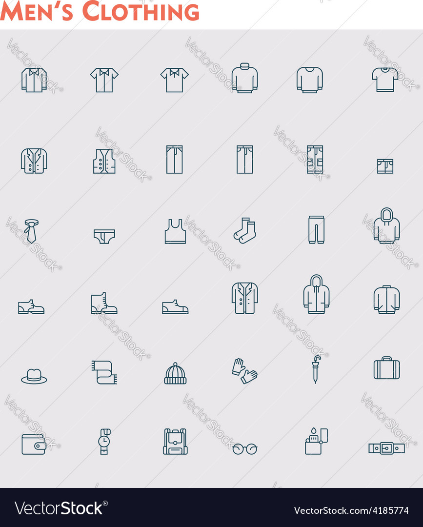Linear men clothes icon set vector | Price: 1 Credit (USD $1)