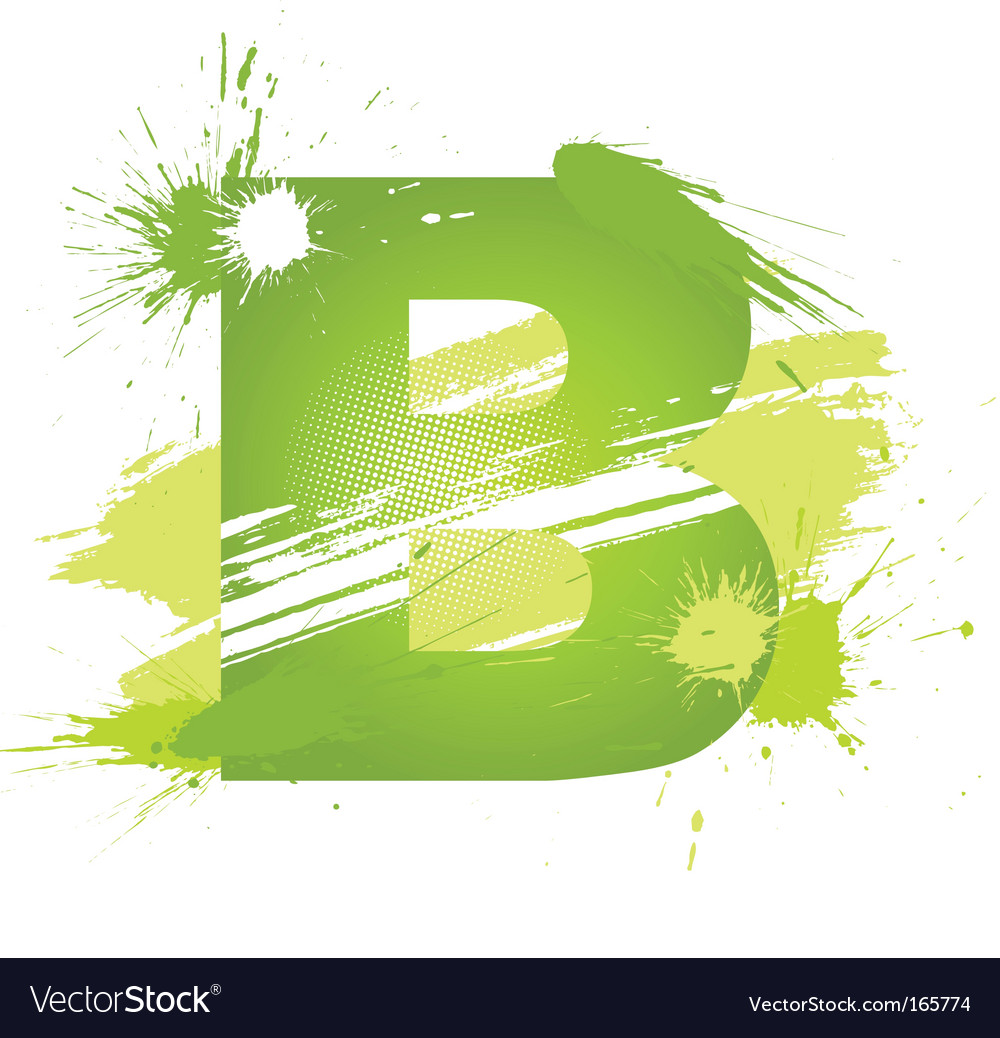 Paint splashes font letter b vector | Price: 1 Credit (USD $1)