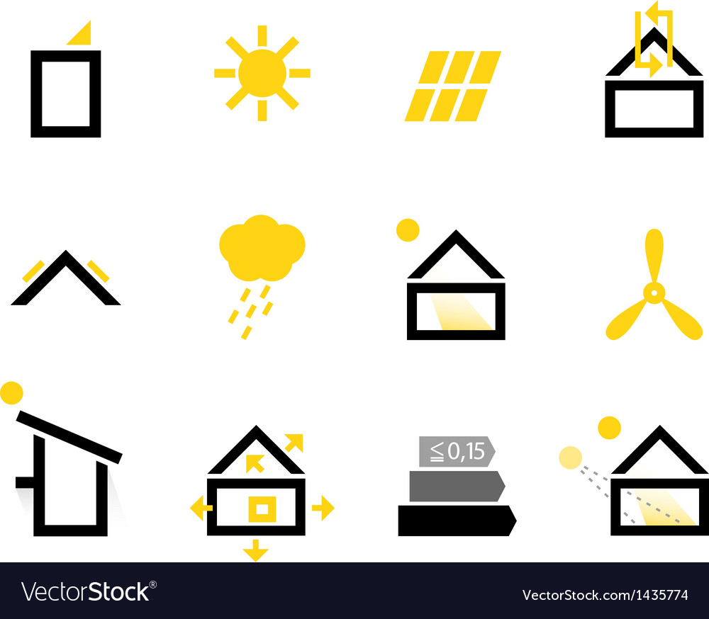 Passive house icons isolated on white vector | Price: 1 Credit (USD $1)