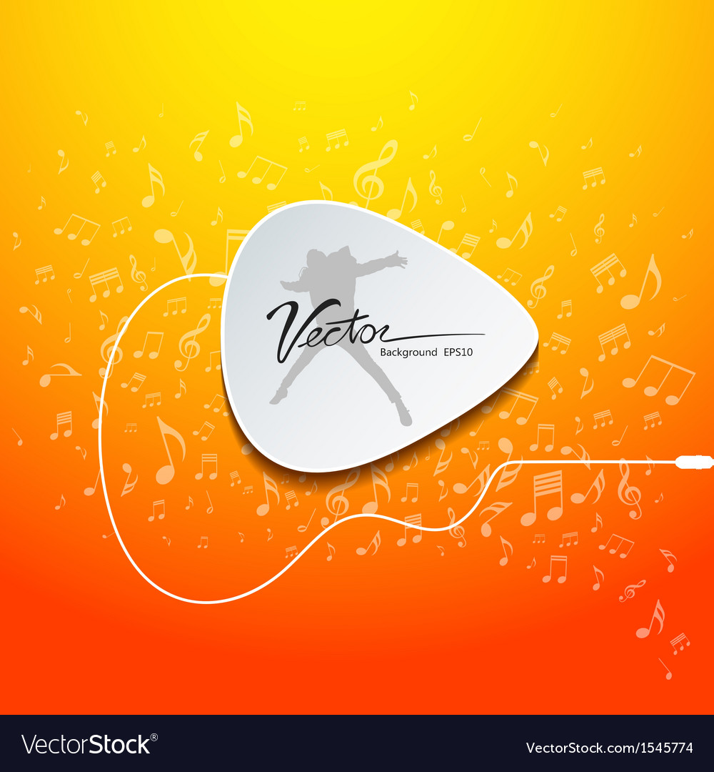 Pick guitar music design on orange background vector | Price: 1 Credit (USD $1)