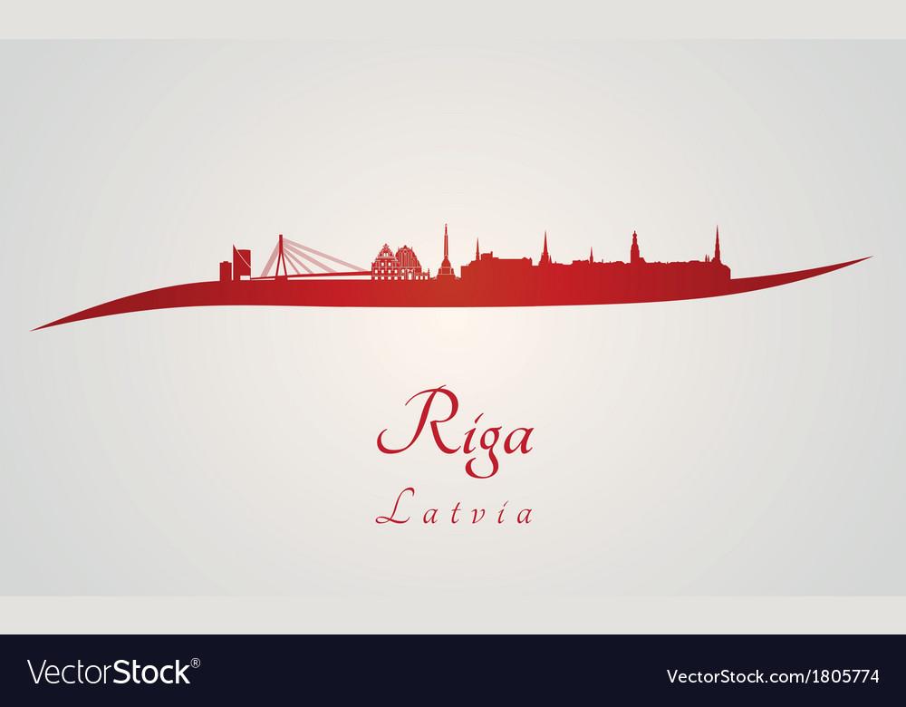 Riga skyline in red vector | Price: 1 Credit (USD $1)