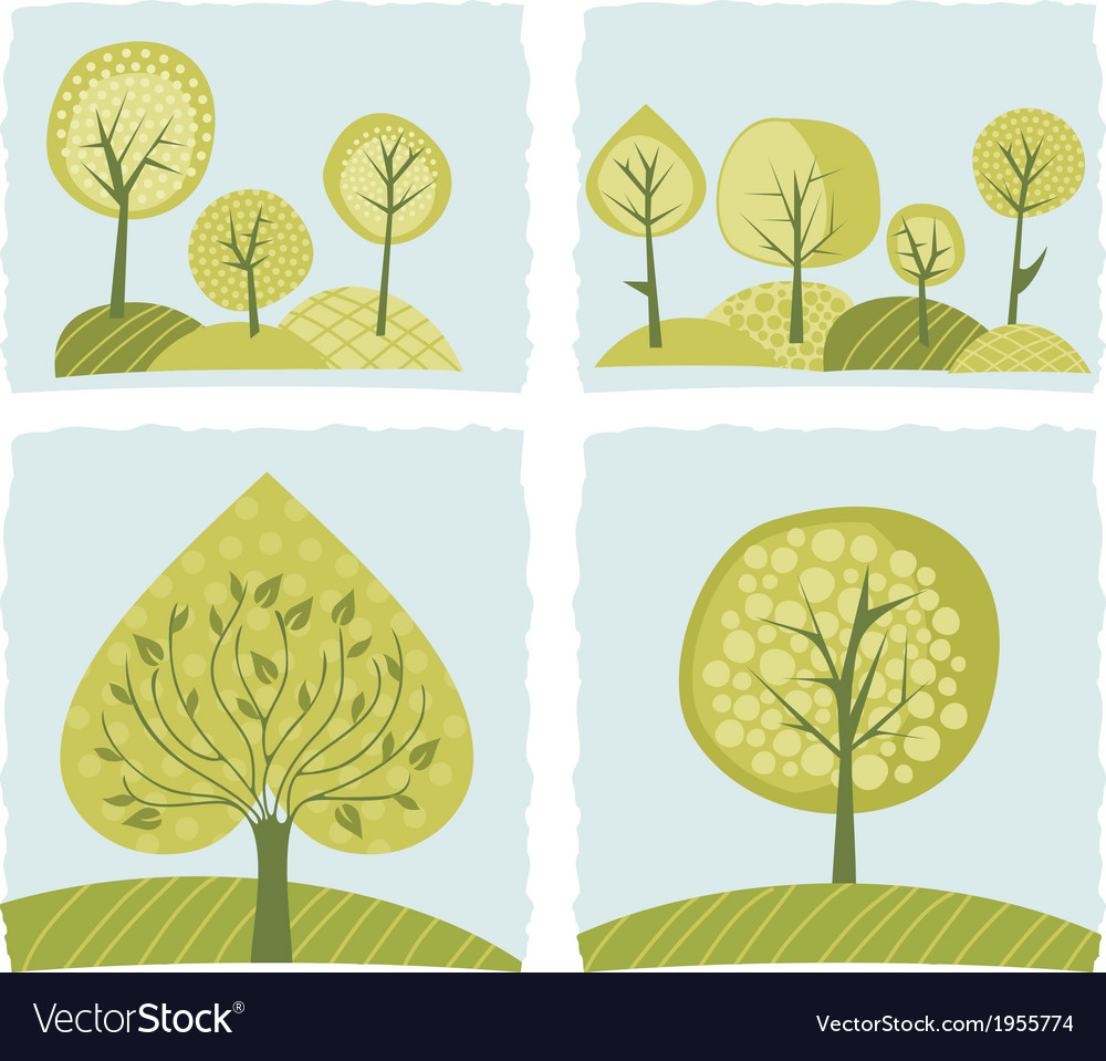 Spring trees set vector | Price: 1 Credit (USD $1)