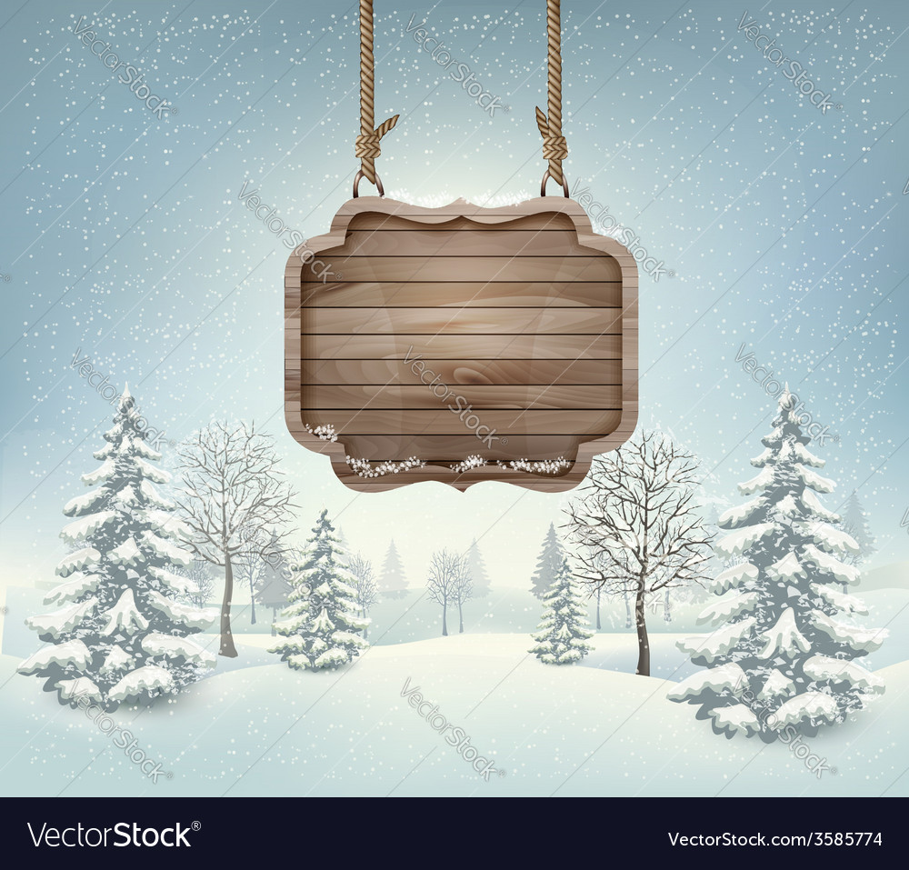 Winter landscape with a wooden ornate merry vector | Price: 3 Credit (USD $3)