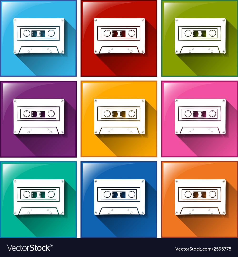 A cassette radio icon vector | Price: 1 Credit (USD $1)