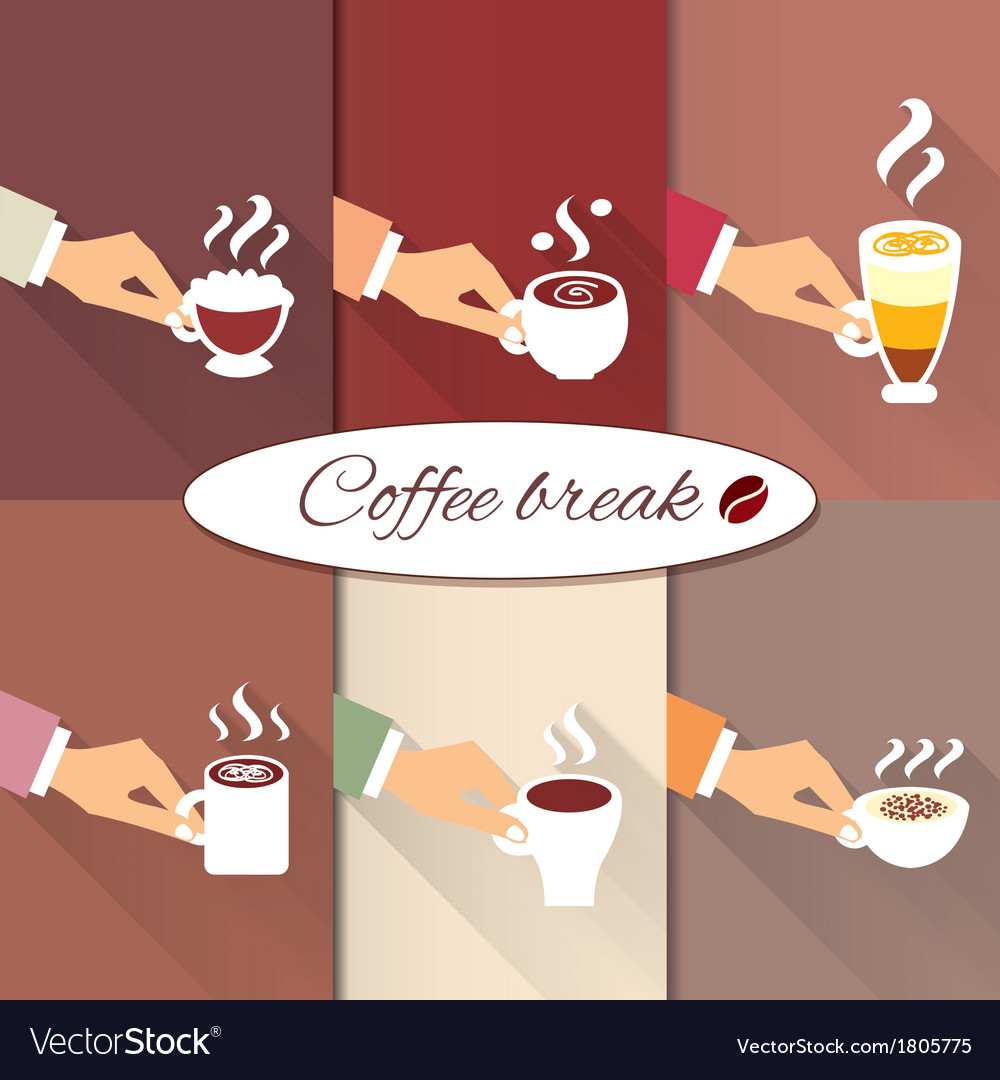 Business hands offering hot coffee drinks vector | Price: 1 Credit (USD $1)