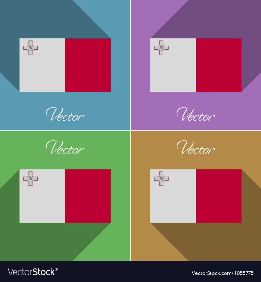 Flags malta set of colors flat design and long vector | Price: 1 Credit (USD $1)
