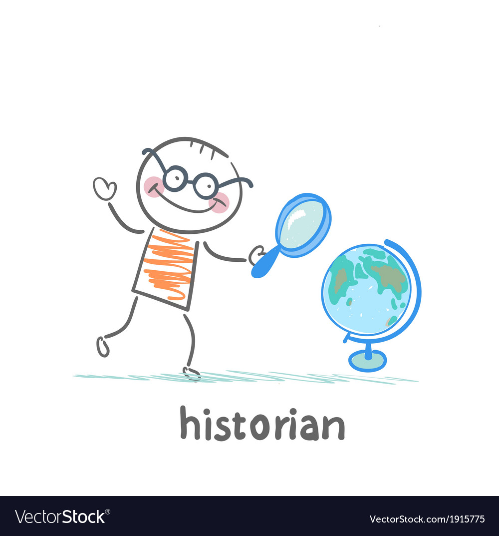 Historian looks at the globe through a magnifying vector | Price: 1 Credit (USD $1)