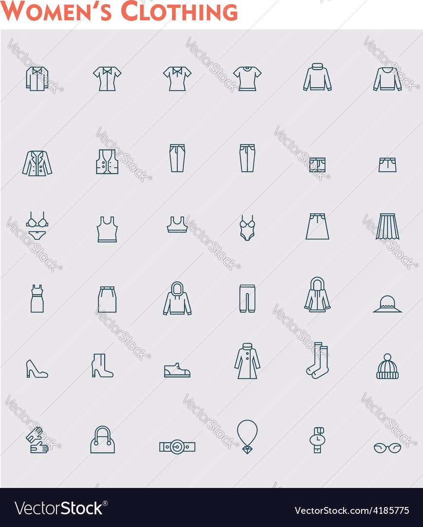 Linear women clothes icon set vector | Price: 1 Credit (USD $1)