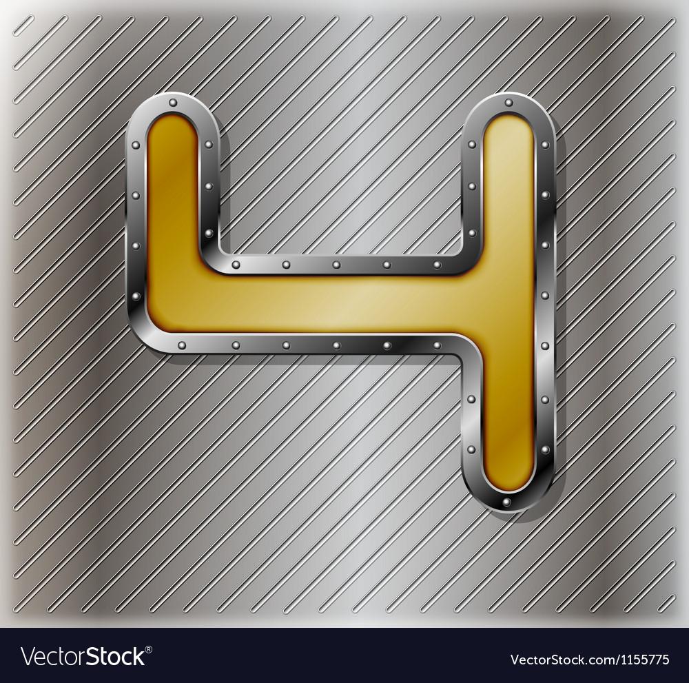 Metallic number four vector | Price: 1 Credit (USD $1)