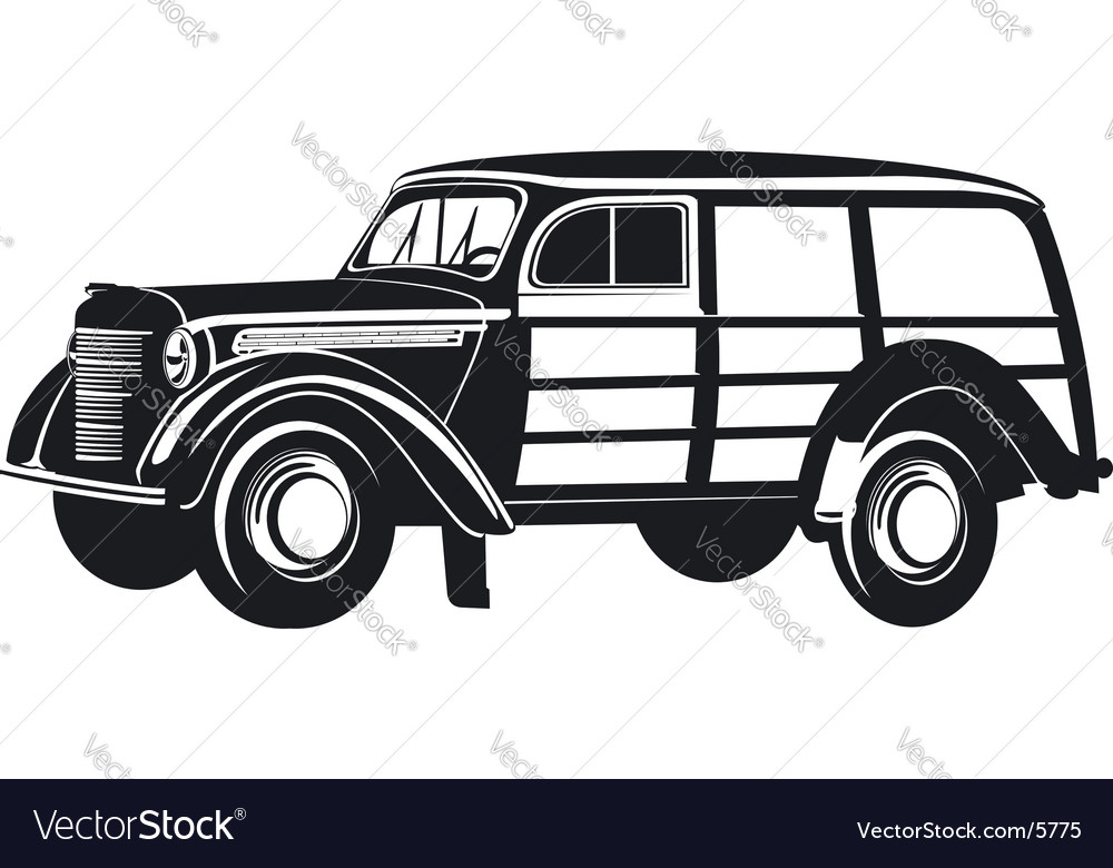 Retro mini van vector | Price: 1 Credit (USD $1)