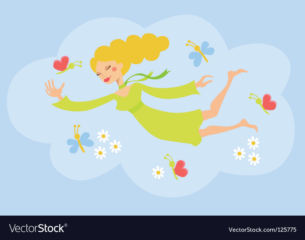 Springtime girl vector | Price: 1 Credit (USD $1)