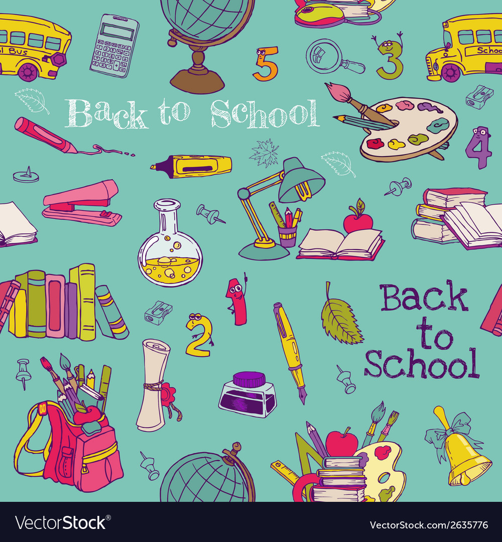 Back to school - seamless background vector | Price: 1 Credit (USD $1)