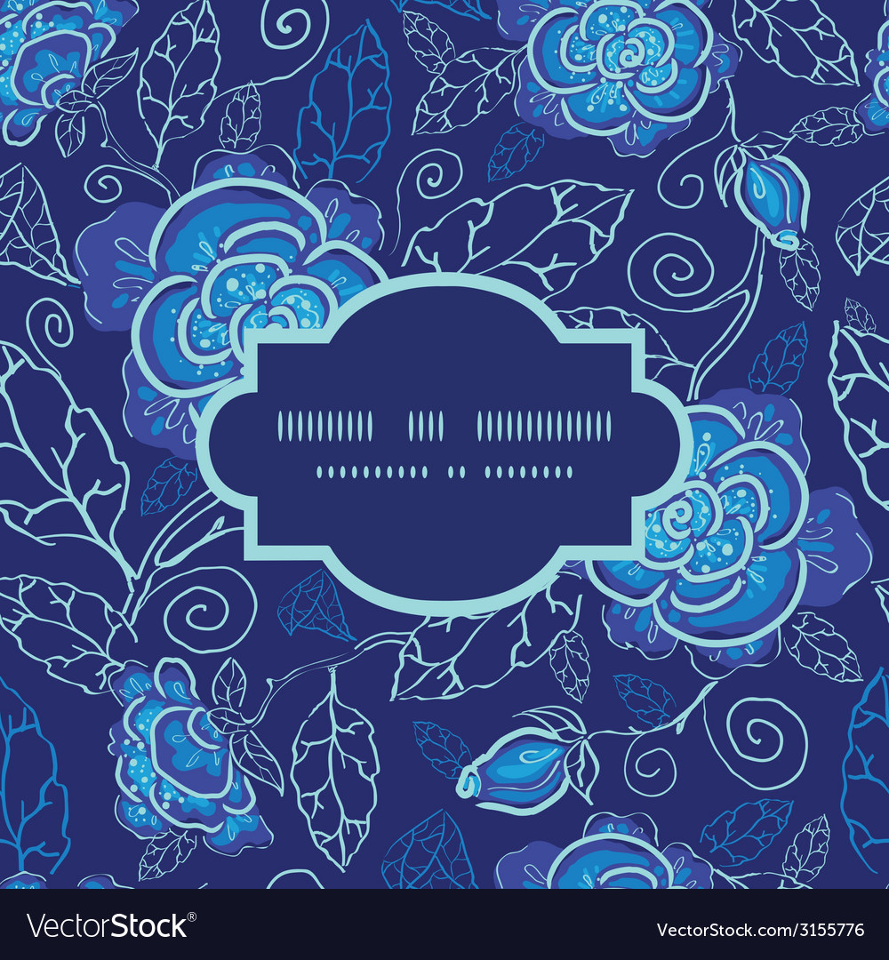 Blue night flowers frame seamless pattern vector | Price: 1 Credit (USD $1)