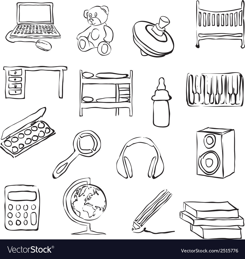 Children room doodle images vector | Price: 1 Credit (USD $1)