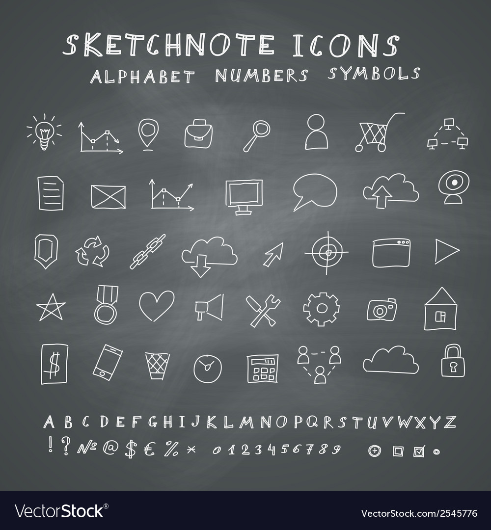 Doodle icons on blackboard vector | Price: 1 Credit (USD $1)