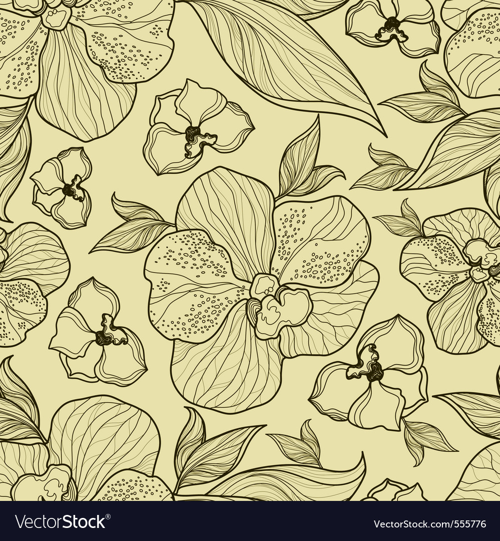 Floral orchid pattern seamless vector | Price: 1 Credit (USD $1)