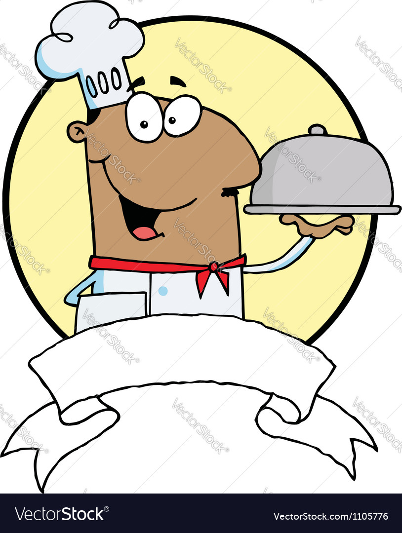 Friendly male chef holding a platter vector | Price: 1 Credit (USD $1)