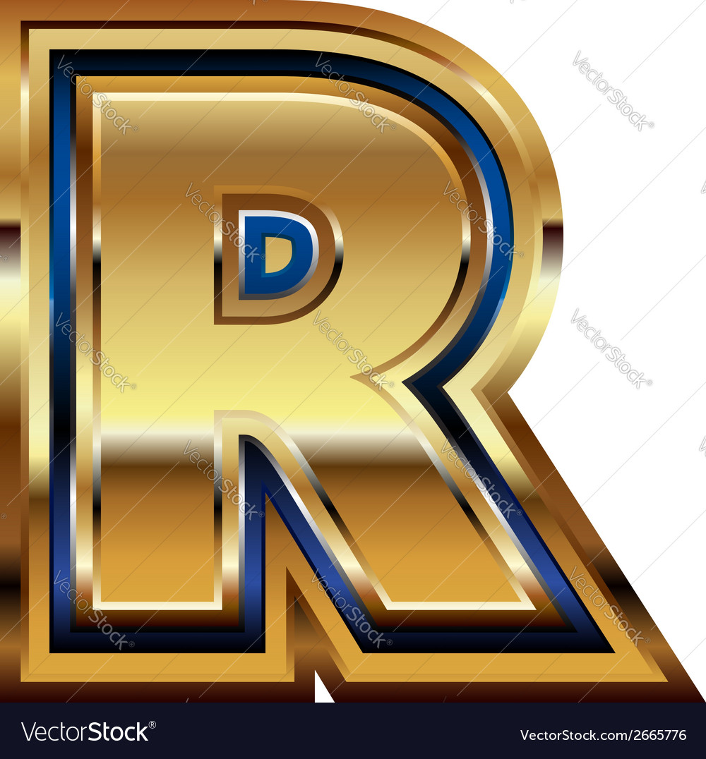 Golden font letter r vector | Price: 1 Credit (USD $1)