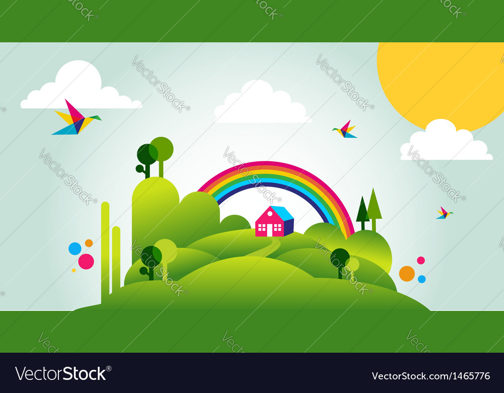 Happy spring time landscape background vector | Price: 1 Credit (USD $1)