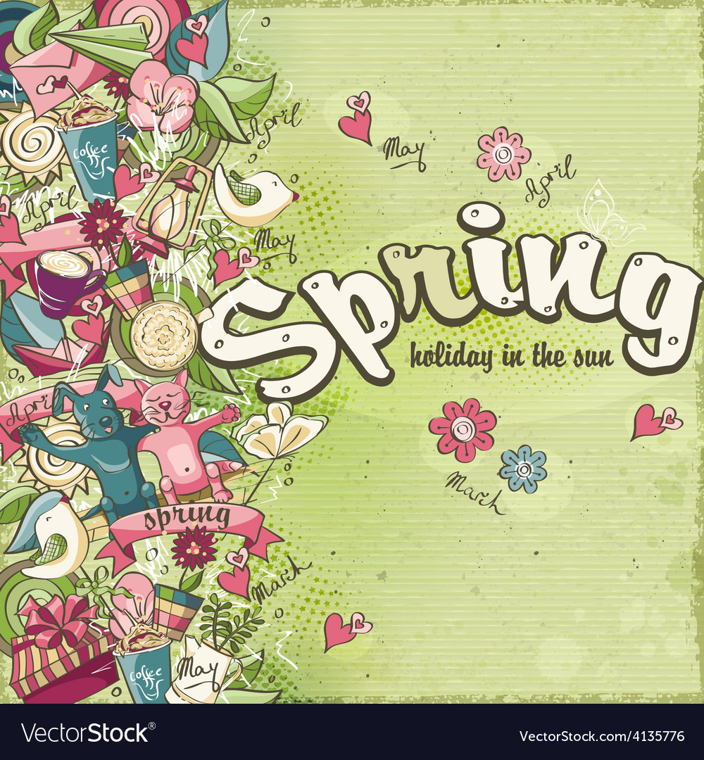 Postcard dedicated to spring and mood vector | Price: 3 Credit (USD $3)