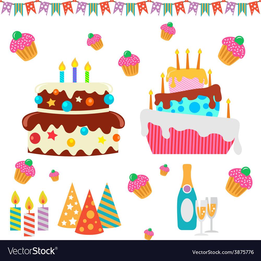 Retro birthday celebration design elements - for vector | Price: 1 Credit (USD $1)