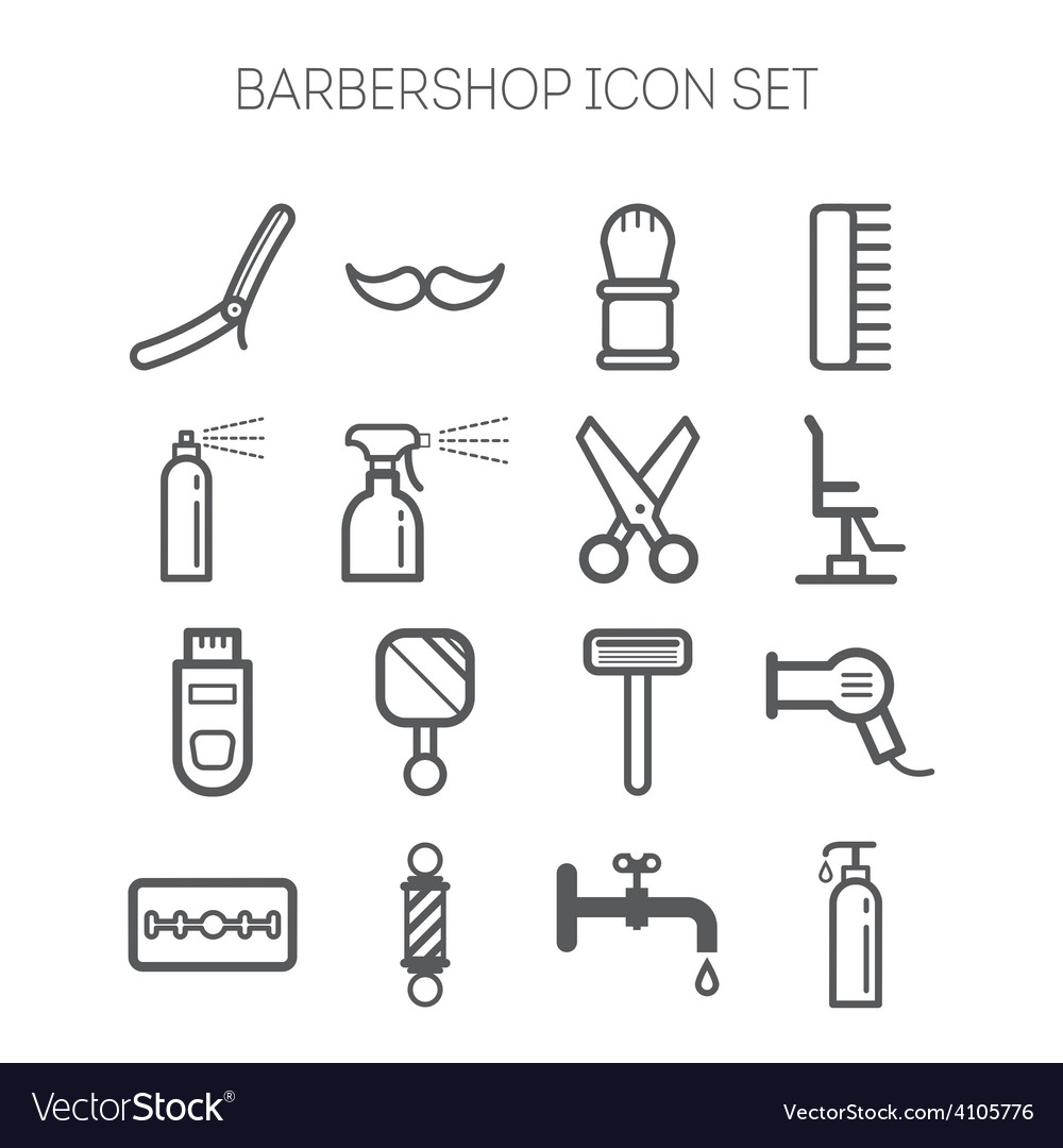 Set of simple monochromatic barbershop icons vector | Price: 1 Credit (USD $1)