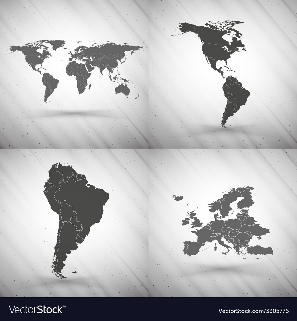 World maps set on gray background grunge texture vector | Price: 1 Credit (USD $1)