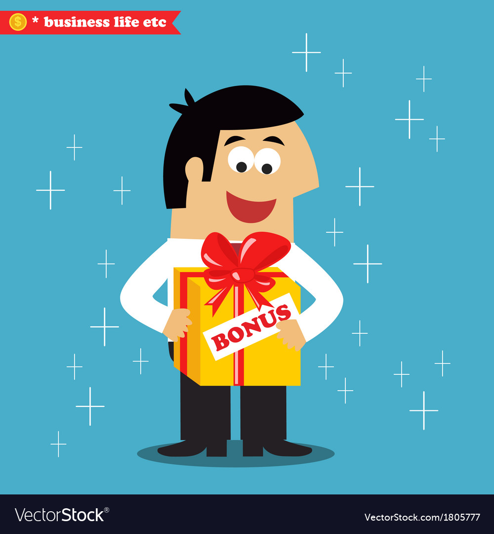 Adult employee got his annual salary bonus vector | Price: 1 Credit (USD $1)