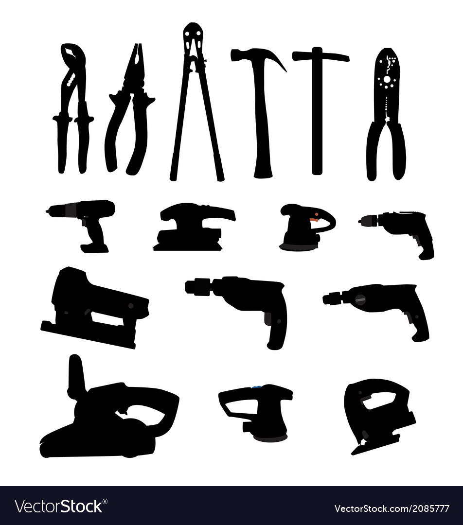 Collection of power tools silhouette vector | Price: 1 Credit (USD $1)