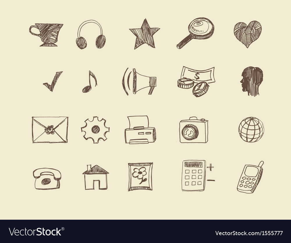 Drawn web icons vector | Price: 1 Credit (USD $1)