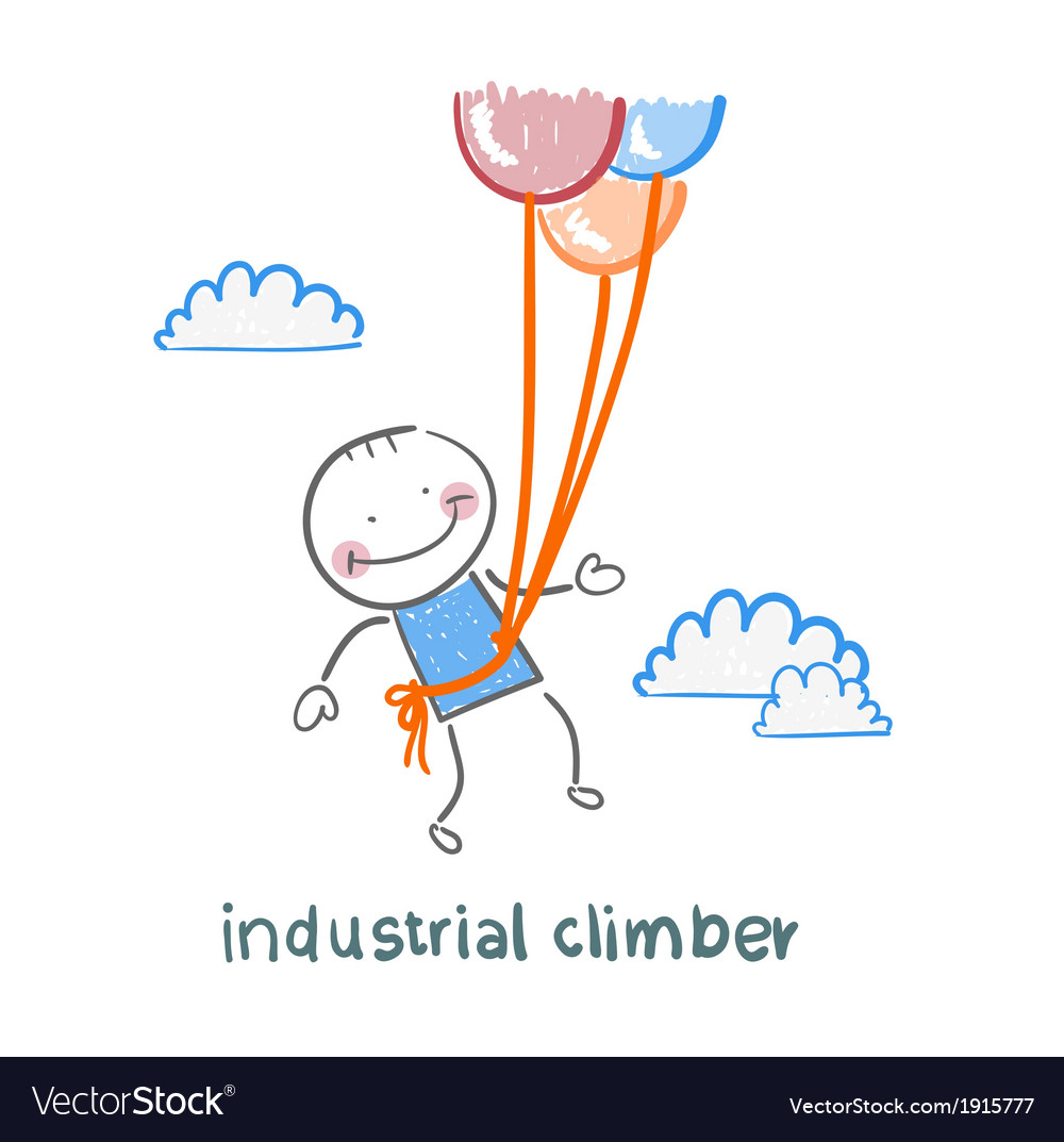 Industrial climber flies on balloons vector | Price: 1 Credit (USD $1)