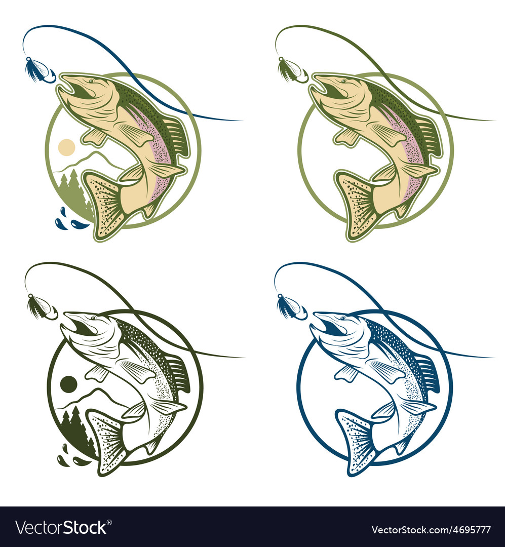 Jumping cartoon trout vintage labels set vector | Price: 1 Credit (USD $1)