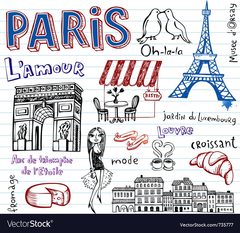 Paris doodles vector | Price: 1 Credit (USD $1)