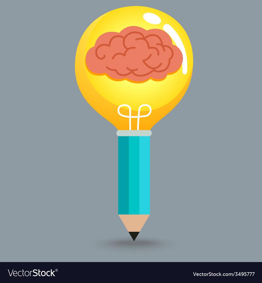 Pencil brain bulb vector | Price: 1 Credit (USD $1)