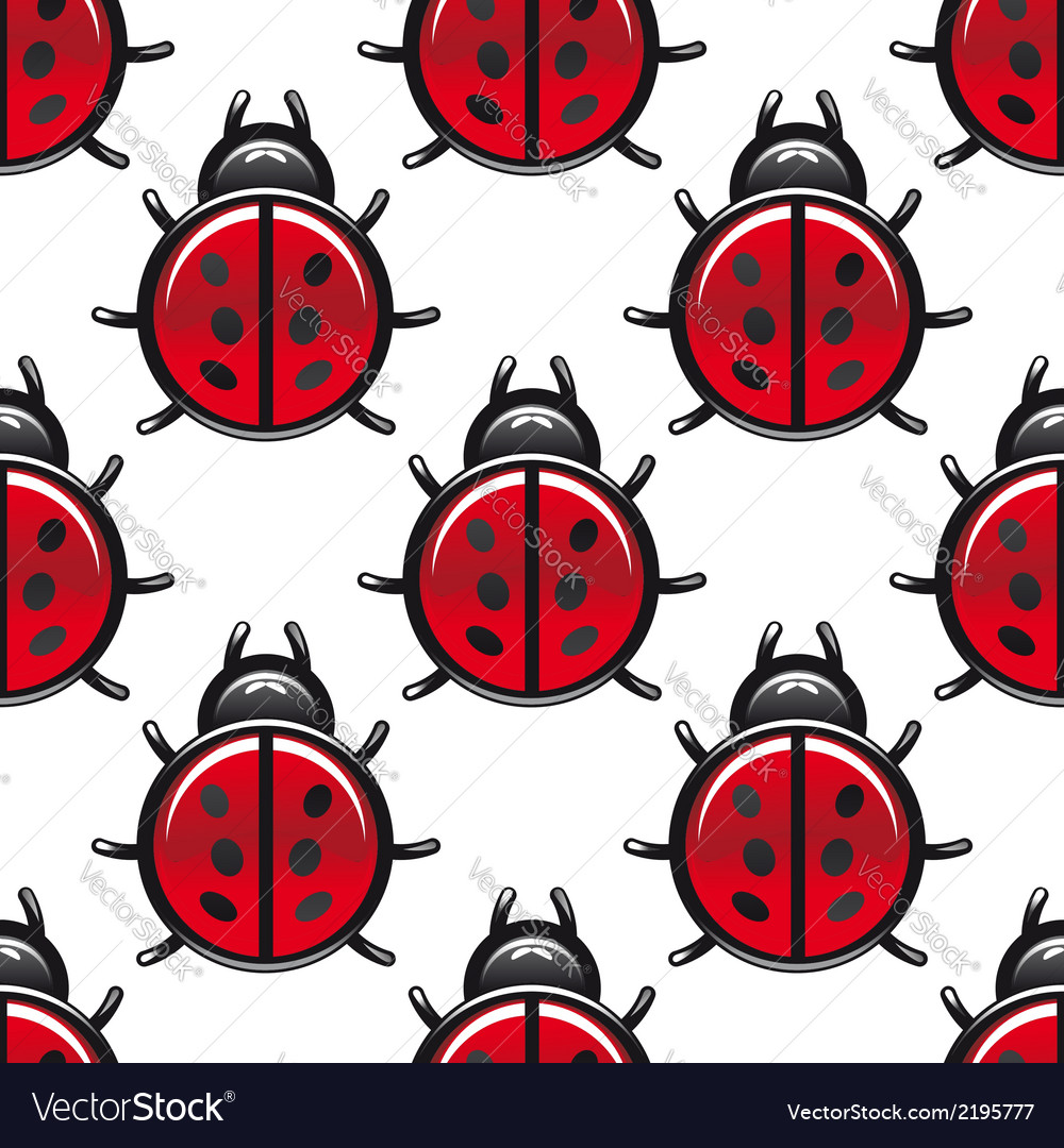 Seamless pattern of a red spotted ladybug vector | Price: 1 Credit (USD $1)