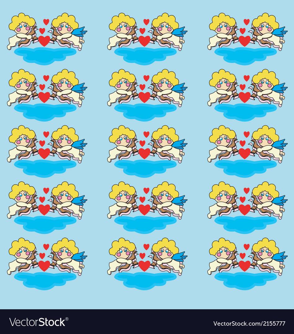 Sleeping cupid valentine day postcard vector | Price: 1 Credit (USD $1)